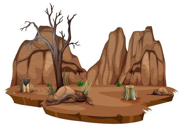 Deserto selvaggio su sfondo bianco
