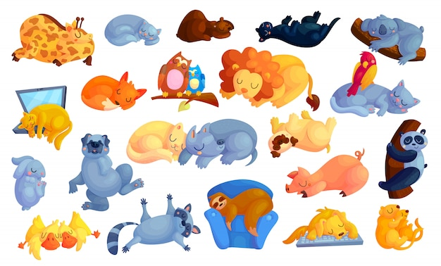 Wild and domestic animals cartoon stickers set.
