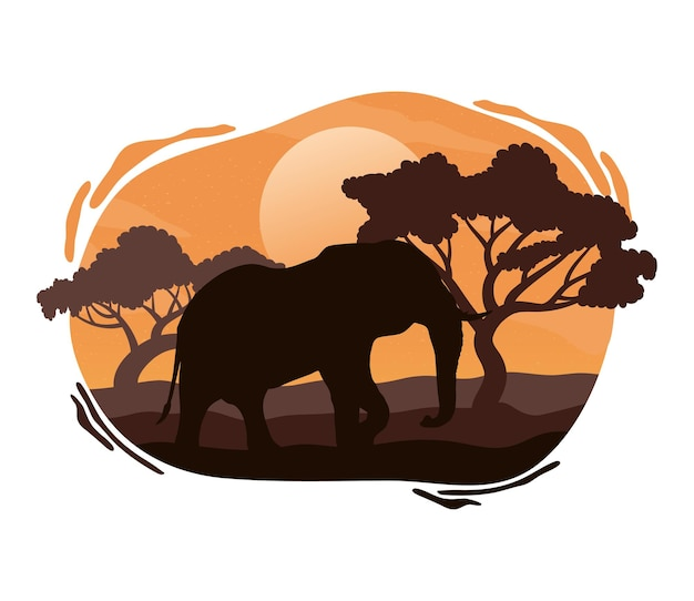 Сцена силуэта фауны дикого слона
