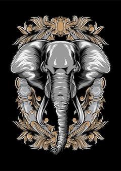 Дикий слон векторные иллюстрации дизайн одежды, дизайн футболки