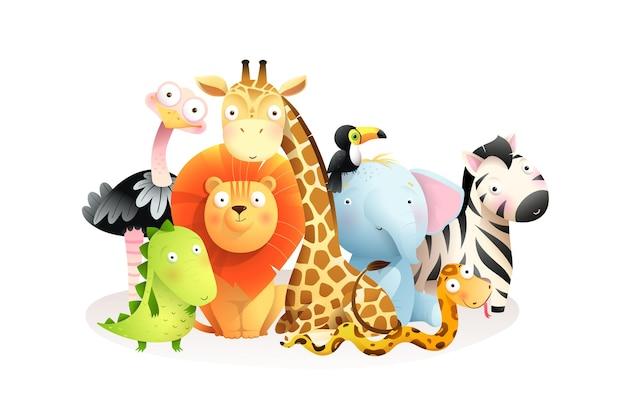 白い背景で隔離の野生のエキゾチックなアフリカの赤ちゃん動物グループ。一緒に座っているかわいいカラフルなサファリ動物、子供のためのクリップアート。水彩風の漫画。