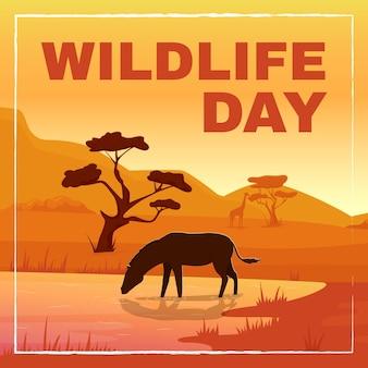 Wild fauna protection social media post mockup wildlife day phrase web banner design template