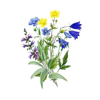리눔과 세이지와 와일드 필드 꽃 꽃다발
