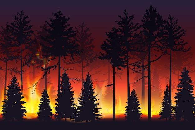 Дикий пожар в ночном лесу стихийное бедствие