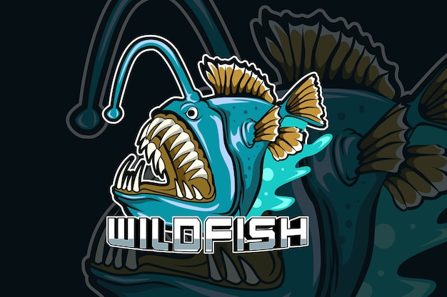 Wild fish predator e-sports team logo template
