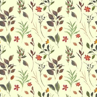 야생 꽃과 잎 수채화 원활한 패턴 배경