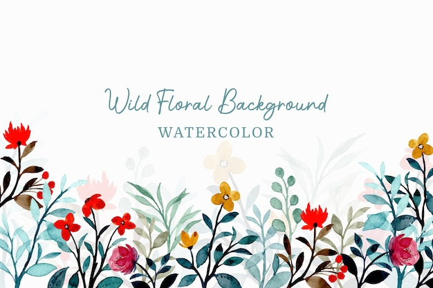 Wild floral background with watercolor