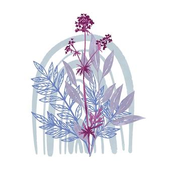 야생 꽃 조성 손으로 그린 수채화