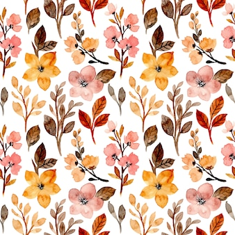 Wild floral seamless pattern with watercolor