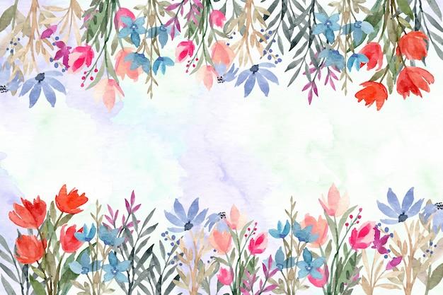Дикие цветочные акварели абстрактный фон