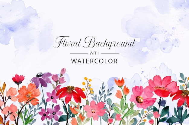 Wild floral watercolor background