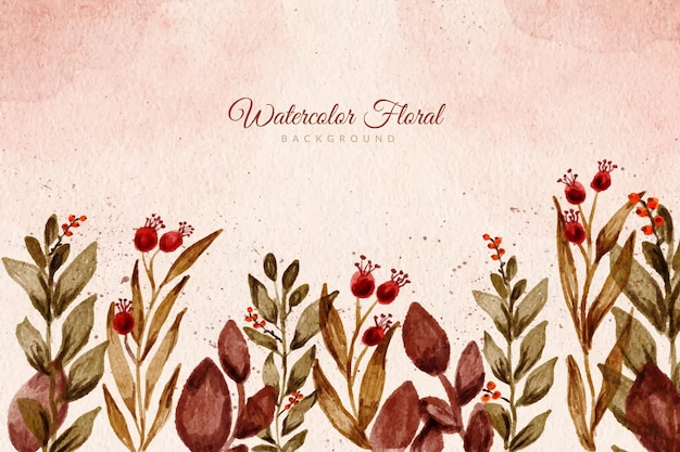 Wild floral watercolor hand painted background with earth tone