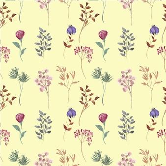 野生の花の水彩画のシームレスなパターン