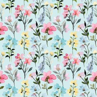 Wild floral watercolor seamless pattern