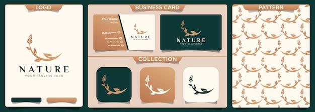 야생 꽃과 나뭇잎 로고 디자인 서식 파일