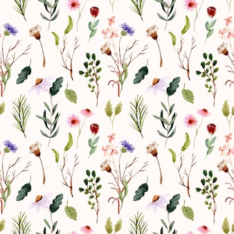 Wild flower meadow watercolor seamless pattern