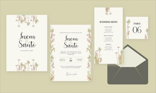Wild flower watercolor rustic wedding invitation
