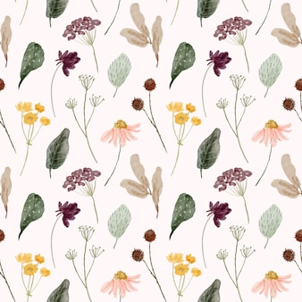 Wild flower watercolor seamless pattern