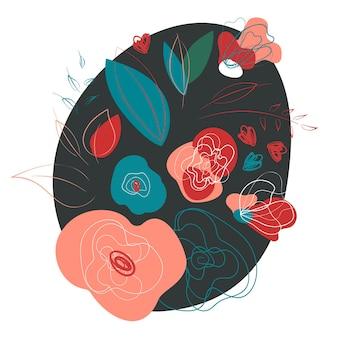 野生の花は暗い背景を持つ花束を抽象化します