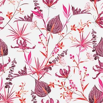 シームレスなパターンで咲く野生の花