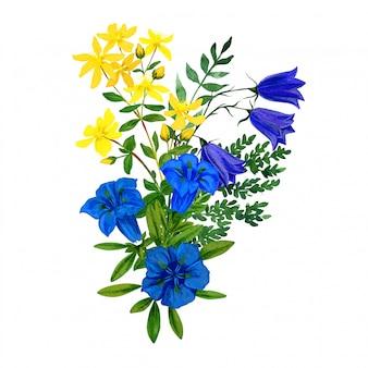 야생 꽃 꽃다발, 파란색과 노란색 색조