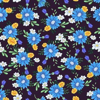 Дикие цветы бесшовные модели. рука рисунок векторная иллюстрация