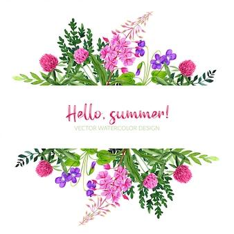 野の花、ピンク、バイオレットと野生の花