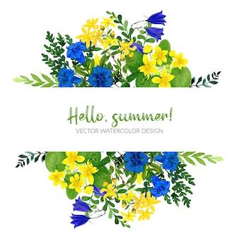 野の花、黄色と青の野生の花