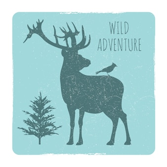 Wild forest adventures emblem with deer and bird silhouette