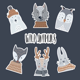 Wild and forest animals stickers