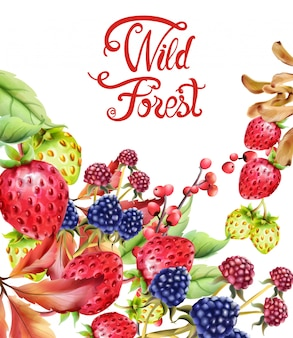 Wild forest fruits composition