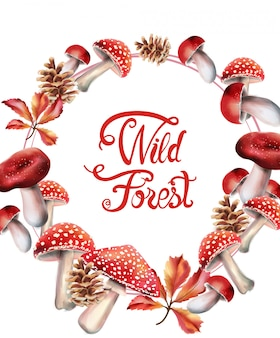 Wild forest fruits on wreath