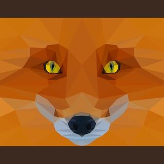 야생 여우는 앞을 응시합니다. 자연과 동물의 삶의 테마. 카드, 초대장, 포스터, 배너, 현수막, 빌보드 표지 디자인에 사용하기 위한 추상 형상 다각형 삼각형 그림
