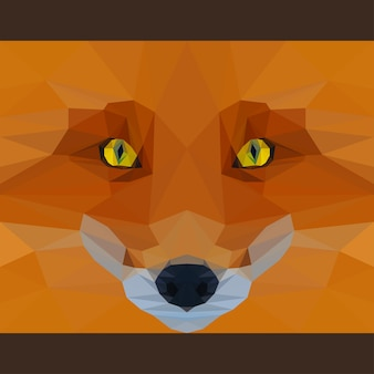 Wild fox stares forward. nature and animals life theme. abstract geometric polygonat triangle illustration for use in design for card, invitation, poster, banner, placard, billboard cover
