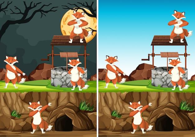 Группа диких лисиц во многих позах в мультяшном стиле парка животных, изолированных на дневном и ночном фоне