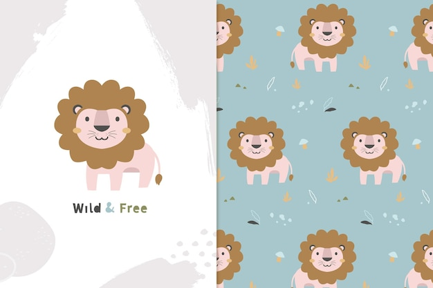 Wild and free lion and seamless pattern