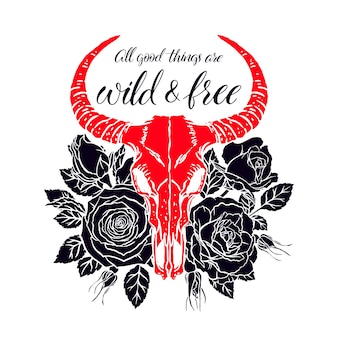 Wild and free. vintage animal skull with horns and pink roses. hand-drawn illustration
