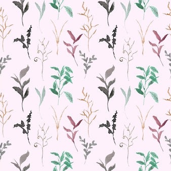 Wild grass watercolor seamless pattern