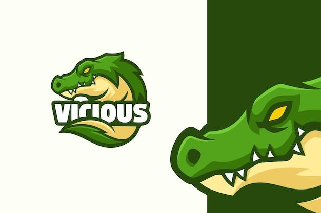 야생 녹색 악어 로고 마스코트 캐릭터