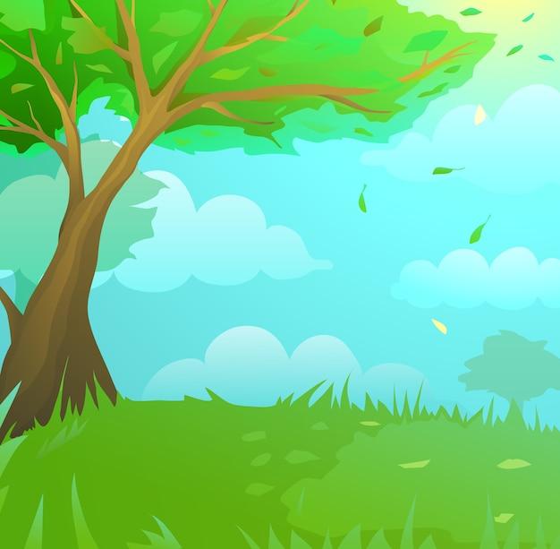 Wild green forest landscape with grass lawn dreamland kids cartoon. children landscape and wildlife design artistic background.