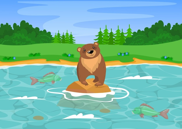 Wild grizzly bear fishing in river. cartoon illustration