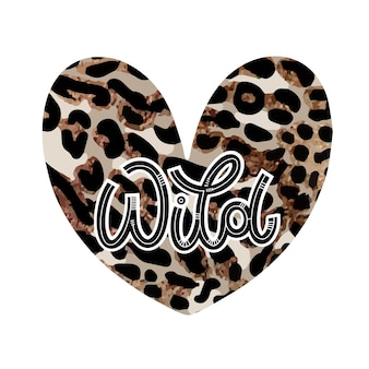 Wild heart lettering in doodle style. hand drawn inspirational and motivational quote. design for print, poster, card, invitation, t-shirt, badges and sticker. vector illustration