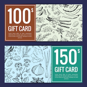 Wild herbs sketch gift card template. vector hand drawn herbs spices discount
