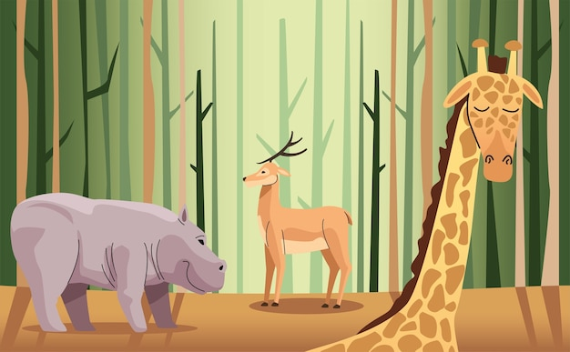 Wild hippopotamus and reindeer with giraffe in the forest scene