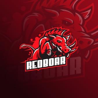 Wild hog or boar mascot logo vector illustration