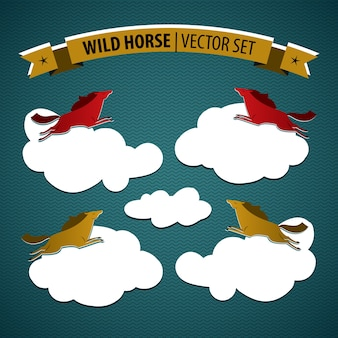 Wild horse colored isolated set with multicolored horses on clouds