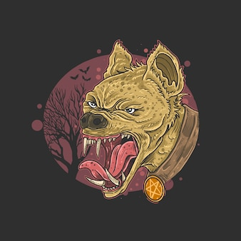 Wild hyena angry face head carnivore