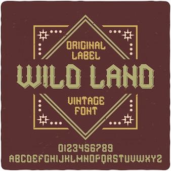Wild landラベルの書体