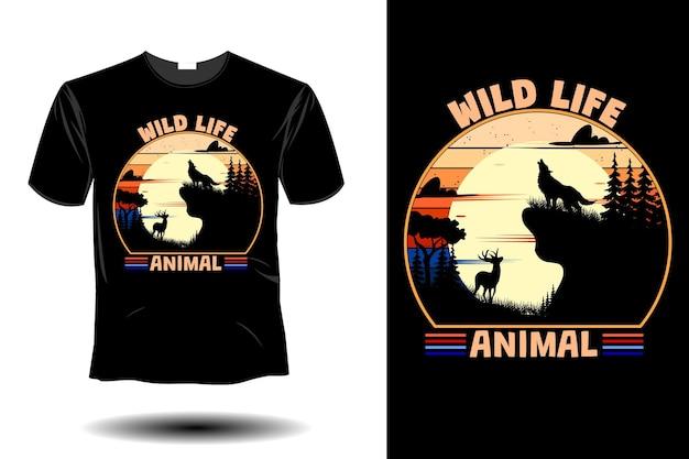 Wild life animal mockup retro vintage design