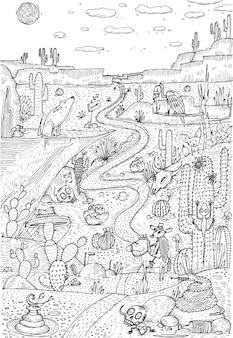 線画風に描かれた砂漠の野生生物。塗り絵のページデザイン。ベクトルイラスト